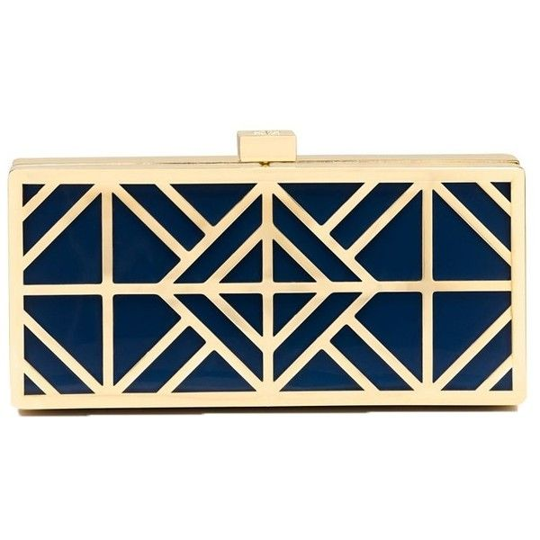 Tory Burch Fret Clutch Evening Minaudiare, Navy / Gold ($315) ❤ liked on Polyvore featuring bags, handbags, clutches, evening handbags, gold clutches, blue evening purse, evening purse and evening clutches