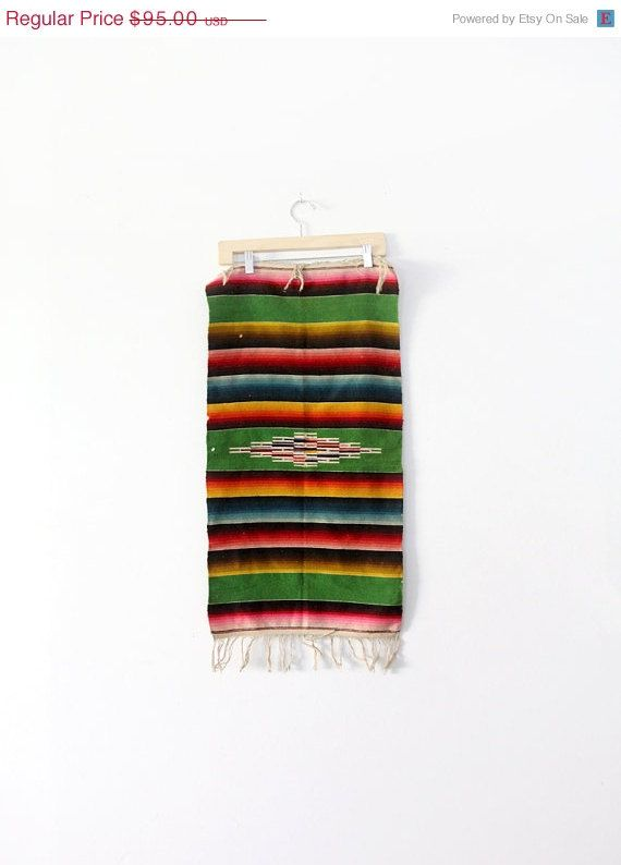 SALE vintage southwestern table runner / mexican serape by 86home, $80.75