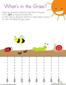 Cutting Lines: What's in the Grass? Worksheet. Gona use green construction paper to cut instead of folding it over