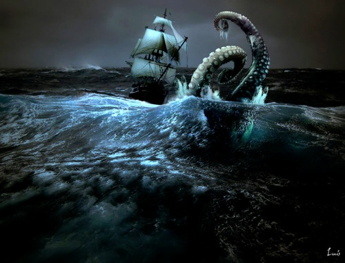 Tales about the Kraken go all the way back to the 12th century, when sailors in Norway and Iceland first reported a sea creature so massive in size it was often mistaken for an island. According to Norwegian mythology, the Kraken had large eyes the size of dinner plates, a high forehead and tentacles the size of ships.