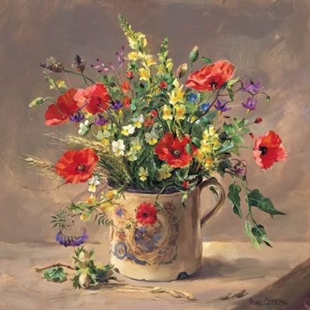 Poppies and other wild field flowers in a Royal Mug. Greetings cards reproduced from the original oil painting of Anne Cotterill