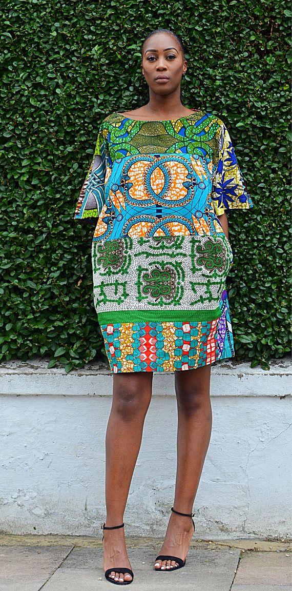 Robe de Versace vert mélange tissu africain Ankara vêtements robe robe à imprimé africain Carla boho tunique africaine impression robe d'été femmes Facile à porter audacieux africaine tunique style est disponible vert mix comme sur la photo tirage limité combo avec détail de poche Sosome