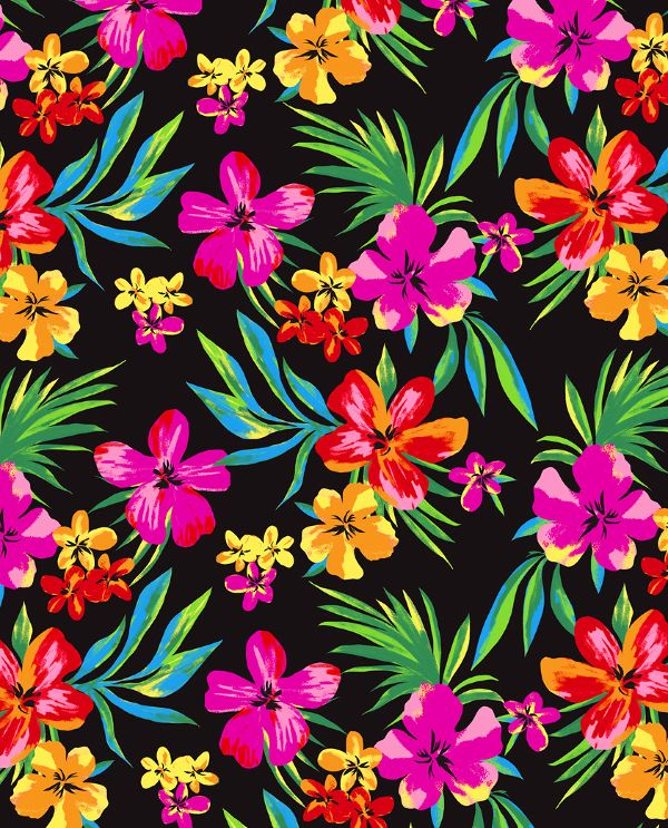Tropical floral print pattern. Good idea for a table cloth at a Luau party.