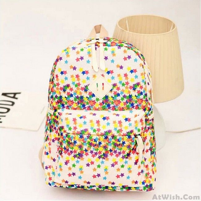 Unique Flashing ShineLittle Star Print Canvas Backpack