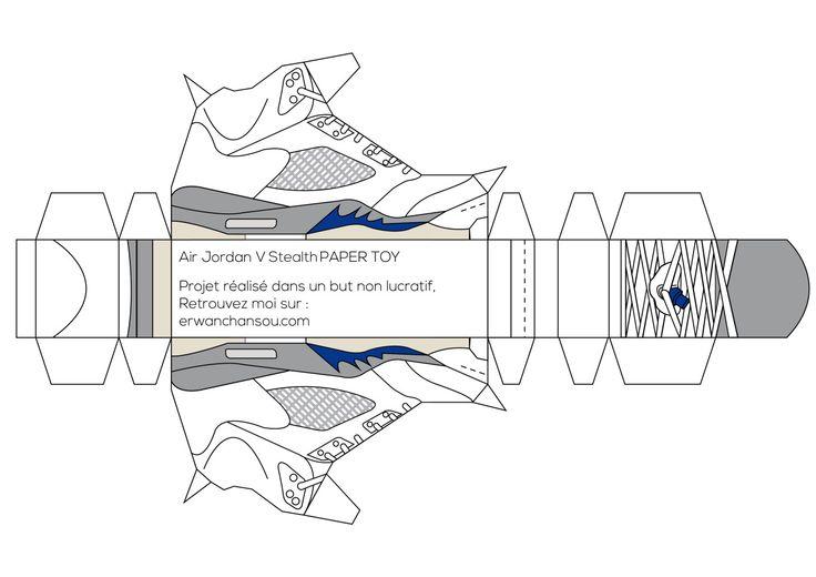 Air Jordan V wolf grey Paper Toy by Erwan Chansou
