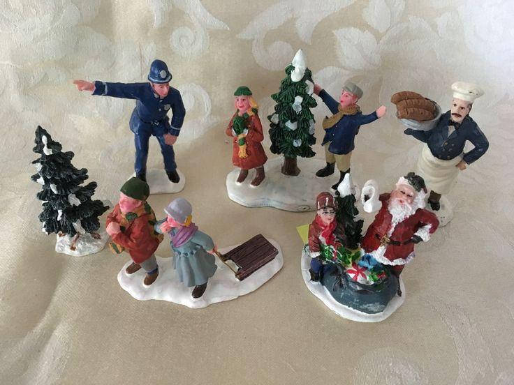 Six (6) Carole Towne Victorian Village Figurines EUC Santa, Baker, Policeman etc #Unknown #VictorianVillage