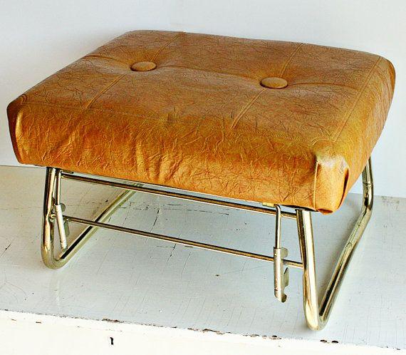vintage leather adjustable foot stool