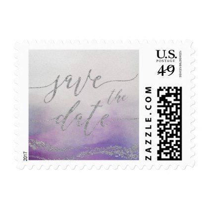 Awash Elegant Watercolor in Orchid Save the Date Postage - save the date gifts personalize diy cyo