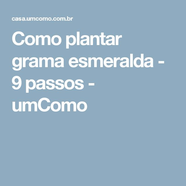 Como plantar grama esmeralda - 9 passos - umComo