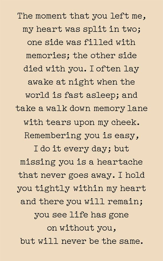The Moment You Left Me Print, Canvas, or Wood Sign - Sympathy Gift                                                                                                                                                                                 More