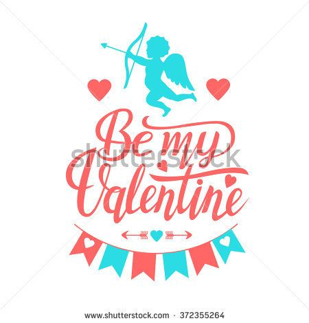 Valentine's Day set with text Be my Valentine typography. Vector illustration of Valentine Greeting Card elements with heart and angel cupid.