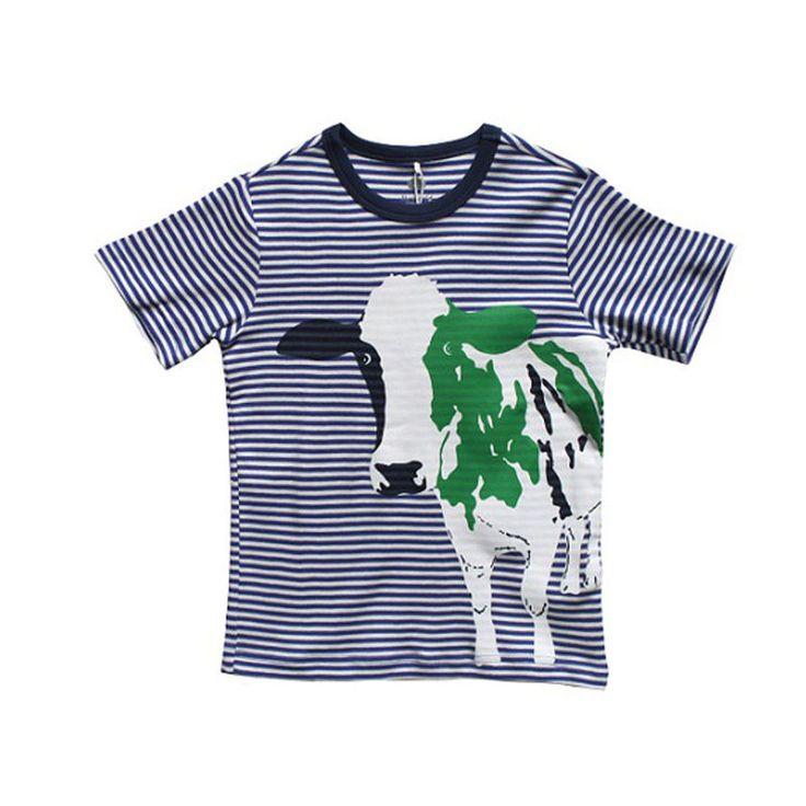 Green Cotton Sadit Κοντομάνικο Ριγέ Μπουζάκι με Τύπωμα Αγελάδα - Sunnyside