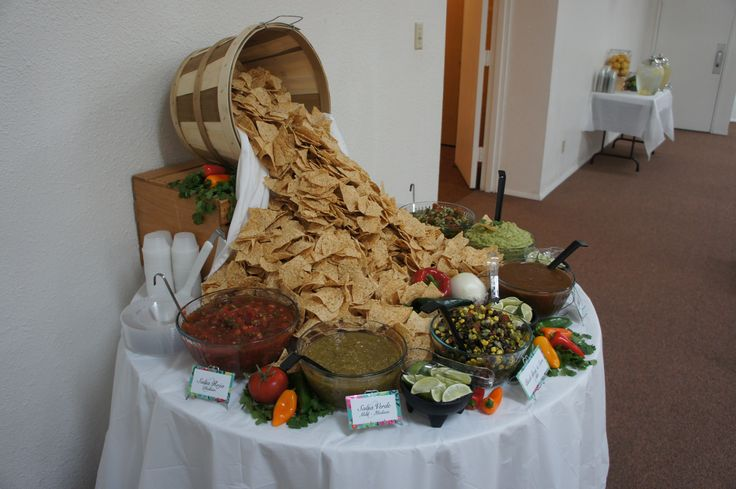 Chips and salsa bar!  How to present a delicious display for your fiesta!   Sash Events