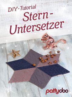 Vorlage und Nähanleitung für ein Patchwork Stern-Untersetzer bzw. Platzset - eine schöne Dekoration für die Festtafel zu Weihnachten | pattydoo