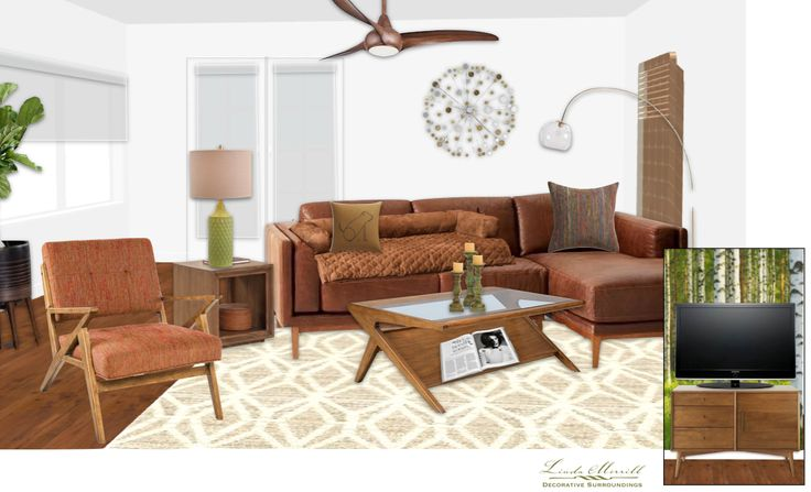 A mid-century inspired living room for a virtual design client. Design and rendering by Linda Merrill. #virtual #design #edecor #edesign #mid-century #millennial #leather #white #walls #brown #leather
