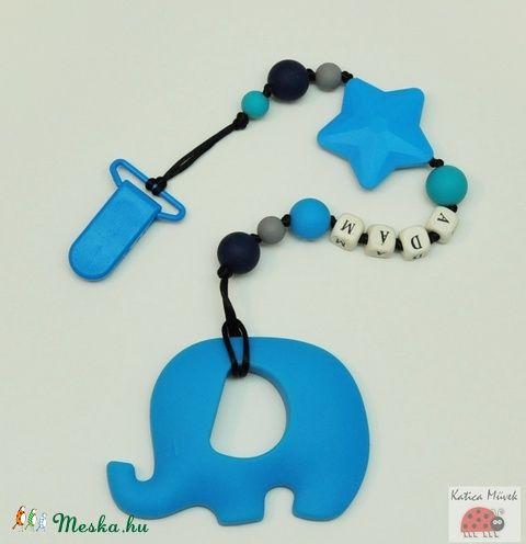 Kék szilikon rágcsalánc elefánttal (KaticaMuvek) - Meska.hu