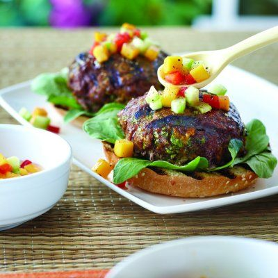 Curried burgers with peach salsa recipe - Chatelaine.com