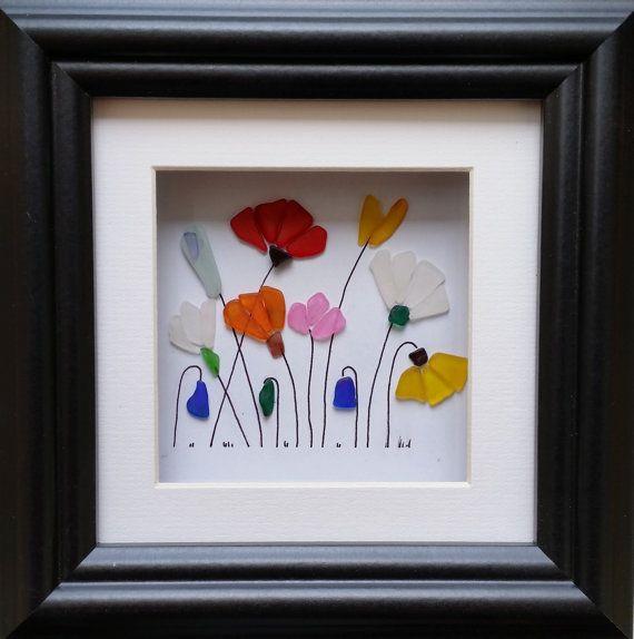 Sea Glass Flower Garden Sea Glass Art by CornishPebbleArt on Etsy