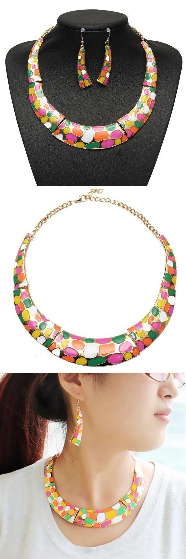 Enamel geometric crescent earrings pendant necklace women jewelry set jewelry set display #indian #jewelry #set #ebay #jewelry #set #with #stones #mr #t #jewelry #set #vivaldi #jewelry #set