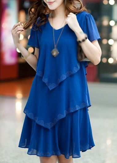 V Neck Royal Blue Layered Chiffon Dress | lulugal.com - USD $25.90