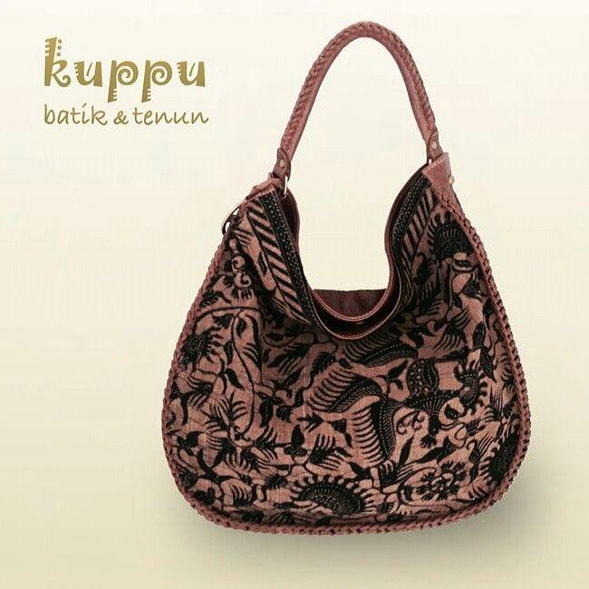 Rose Tuban Hobo bag -Lokcan - Brown Kuppu Batik Tenun ; hand bag combined Tenun Tuban n Italian leather