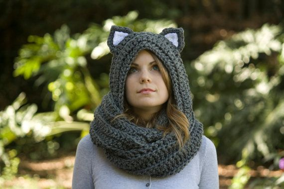 Cat Ear Scoodie, Gray Cat Scarf, Crochet Animal Ear Hooded Scarf, Halloween Costume  on etsy for $50