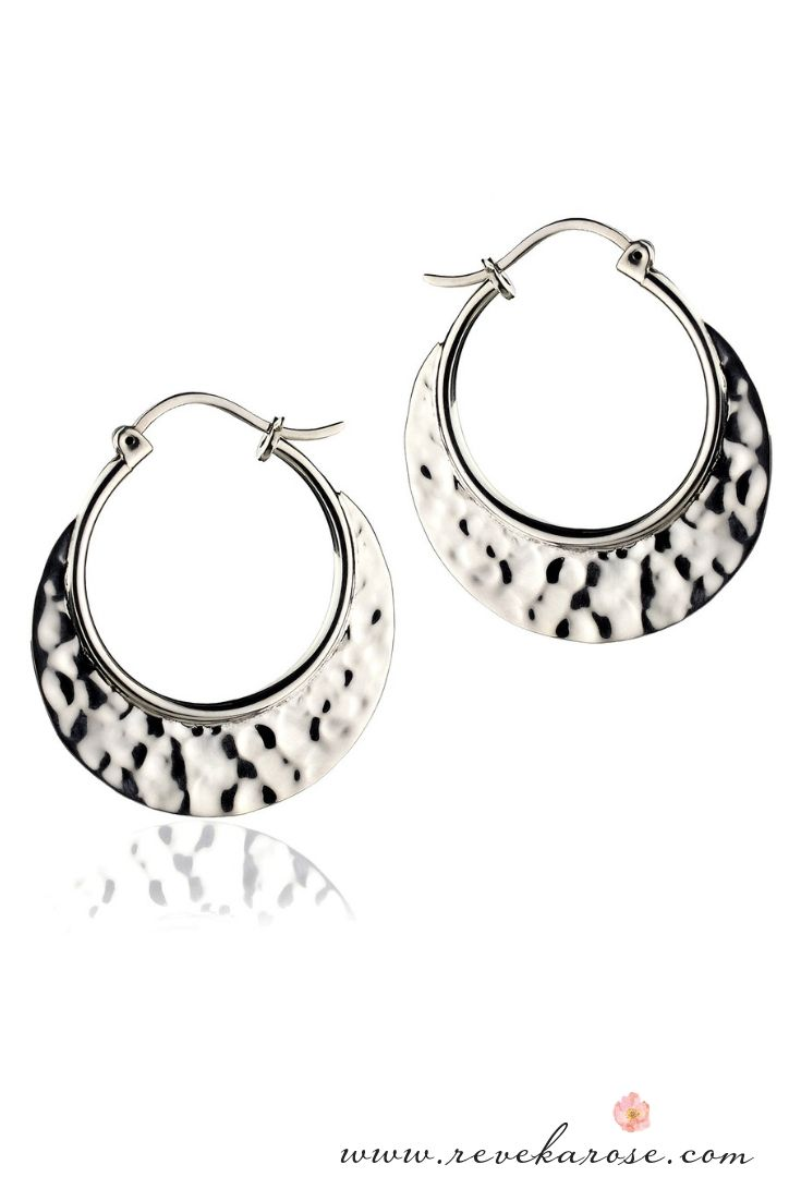 a24f3c0d068a1 Handcrafted Hammered Silver Hoop Earrings in 2019 | Mexican Silver ...