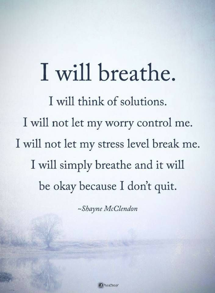 Quotes I will think of solutions. I will not let my worry control me. I will not let my stress level beak me. I will simply breathe and it will be okay because I don't quit.