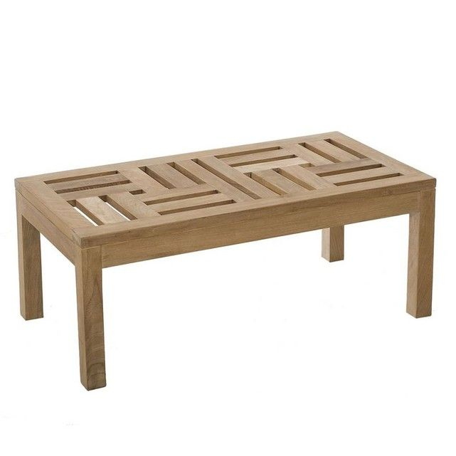 Table Basse De Jardin Contemporaine Rectangle En Bois De Teck Brut