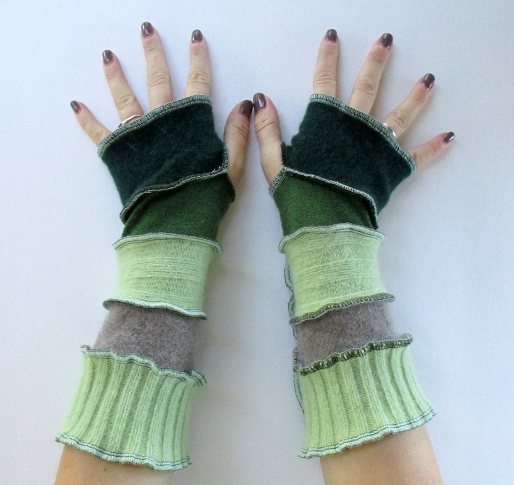 Recycled Sweater Fingerless Gloves Arm Warmers Celery n Sage Gloves Armwarmers Upcycled Clothing ThankfulRose Gloves by ThankfulRose on Etsy