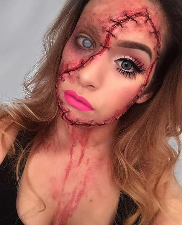 Sew In Scary Halloween Makeup                                                                                                                                                                                 More