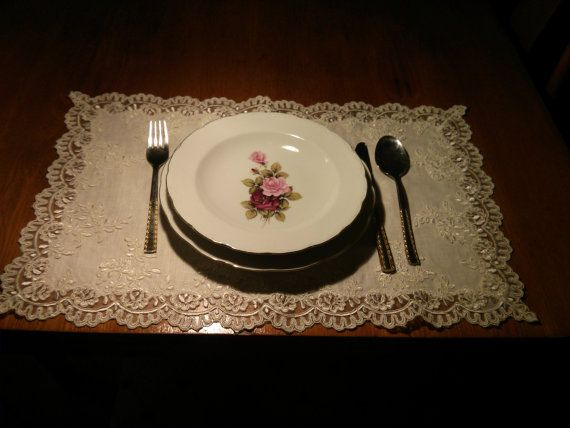 placemat, american service,Runner, Laced french , Table Decor, Home, Gift, Table runner, Ivory Wedding Decor