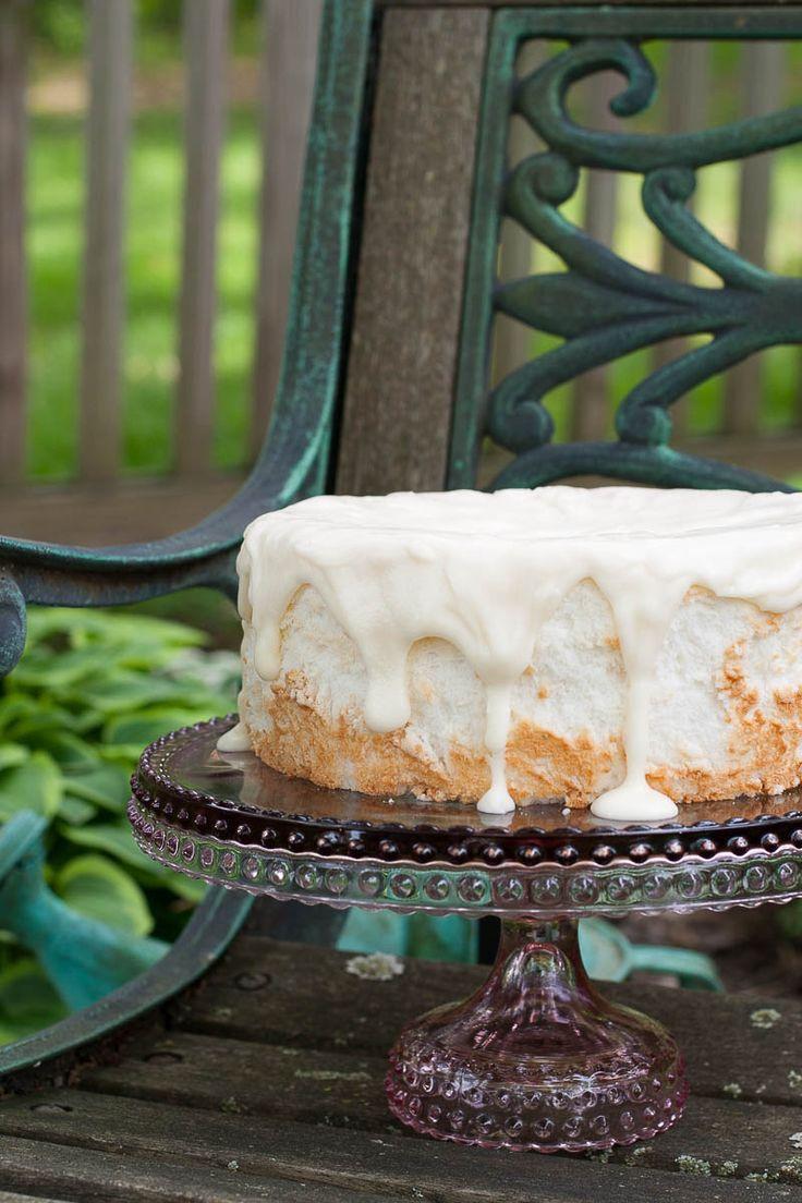 ANGEL FOOD CAKE   Easy recipe for a vanilla glazed angel food cake
