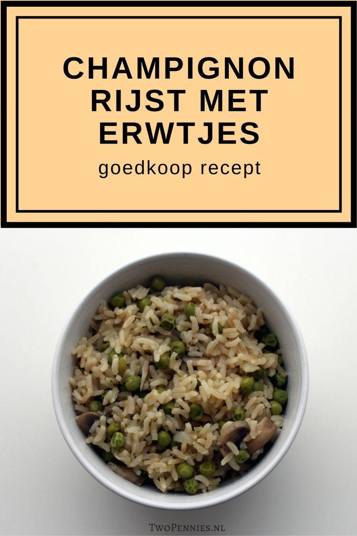 Goedkoop recept met rijst, champignons en erwtjes dat lijkt op risotto. Het kost minder dan 1 euro per persoon en heeft 10 minuten bereidingstijd.