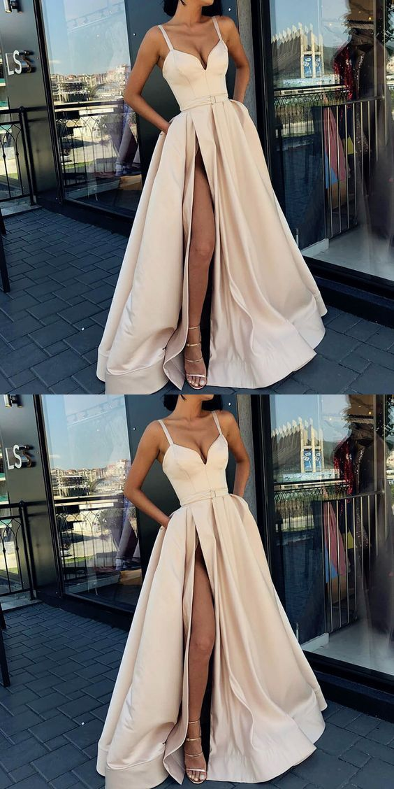 A-Line Formal Custom Spaghetti Straps Sweep Train Split Front Prom Dresses with …