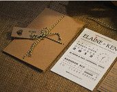 10 x Kraft Wedding Invitation / Rustic Wedding Invitation Suite with bakers twine - 'Rustic Romance'