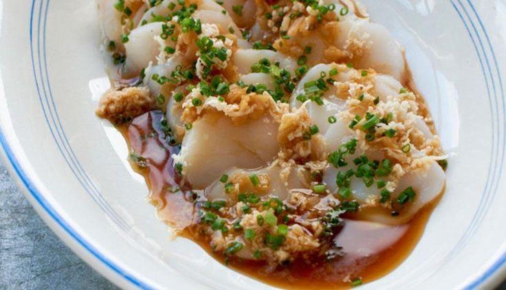 Råmarinerte kamskjell med ingefær, soya og pepperrot