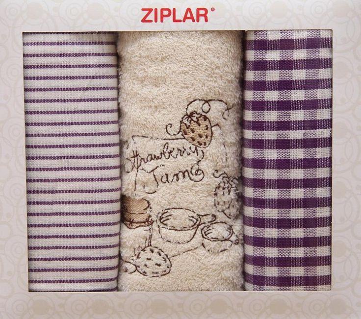 Set károvaný utěrek s bílým ručníkem