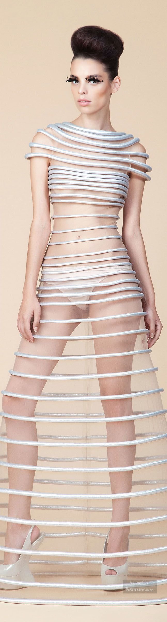 Jean Louis Sabaji Sheer Hoop Skirt Dress  Futuristic Fashion #UNIQUE_WOMENS_FASHION