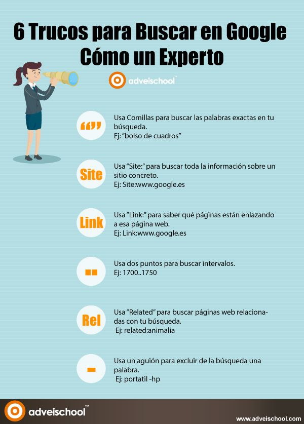 Hola: Una infografía sobre 6 Trucos para buscar en Google cómo un Experto. Vía Un saludo