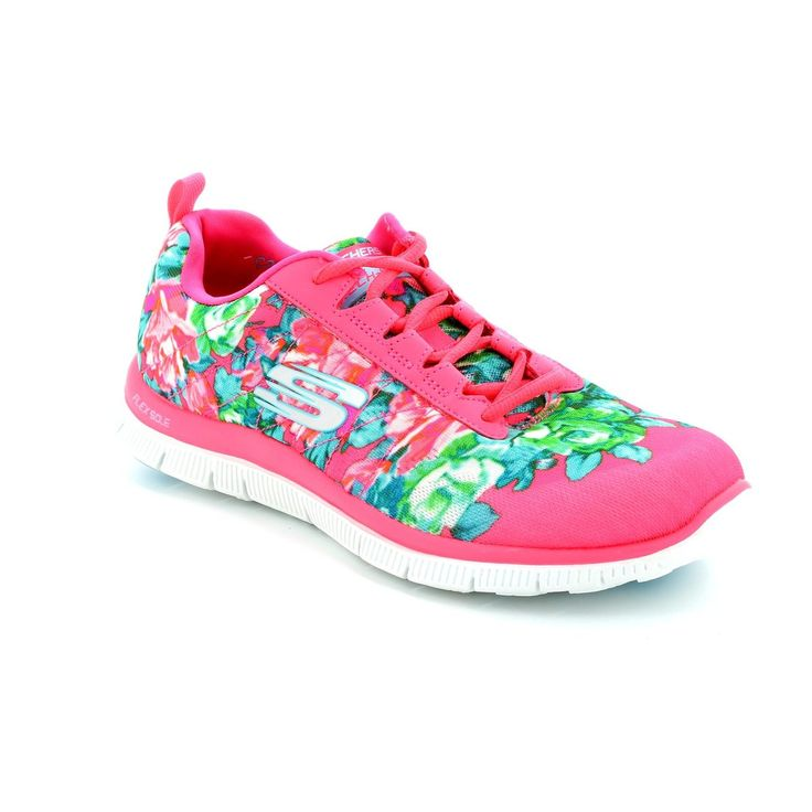 Get your ladies skechers trainers online now at Begg Shoes and Bags. Bright floral lace up skechers: www.beggshoes.com