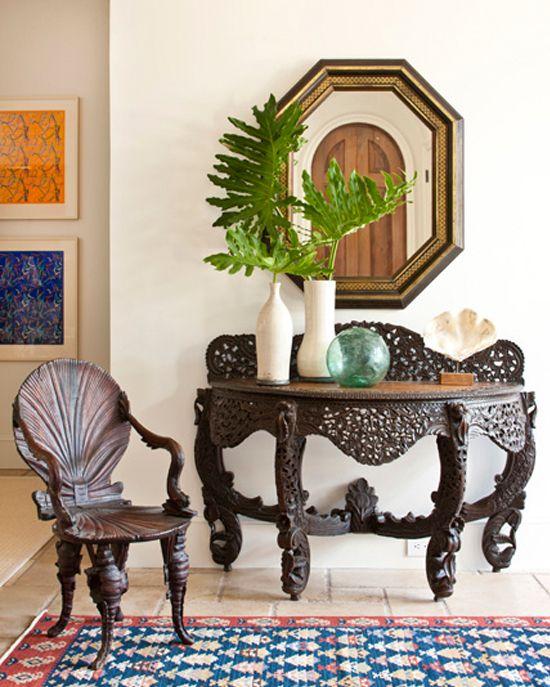 Gorgeous entry piece.: Decor Ideas, Style, Design Ideas, Chairs, Games Of Thrones, Interiors Design, Foyers Decor, Beaches Houses, Dark Colors