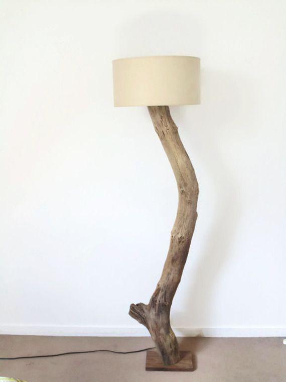 lampadaire en bois flotté - slow deco - création unique