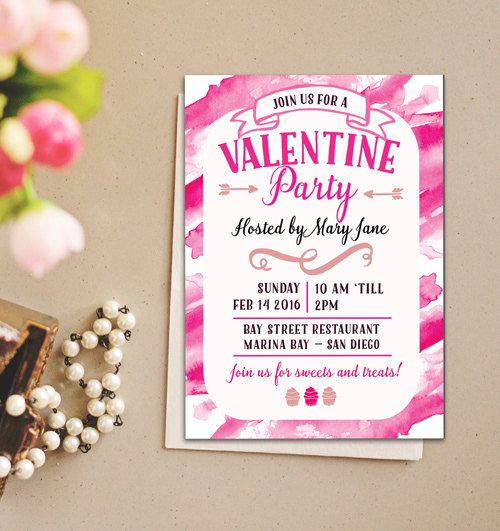 Printable Valentine Invitation, Pink Valentine Dinner Party Invitation, Instant download, Printable Valentines Day Invite, Valentines Day