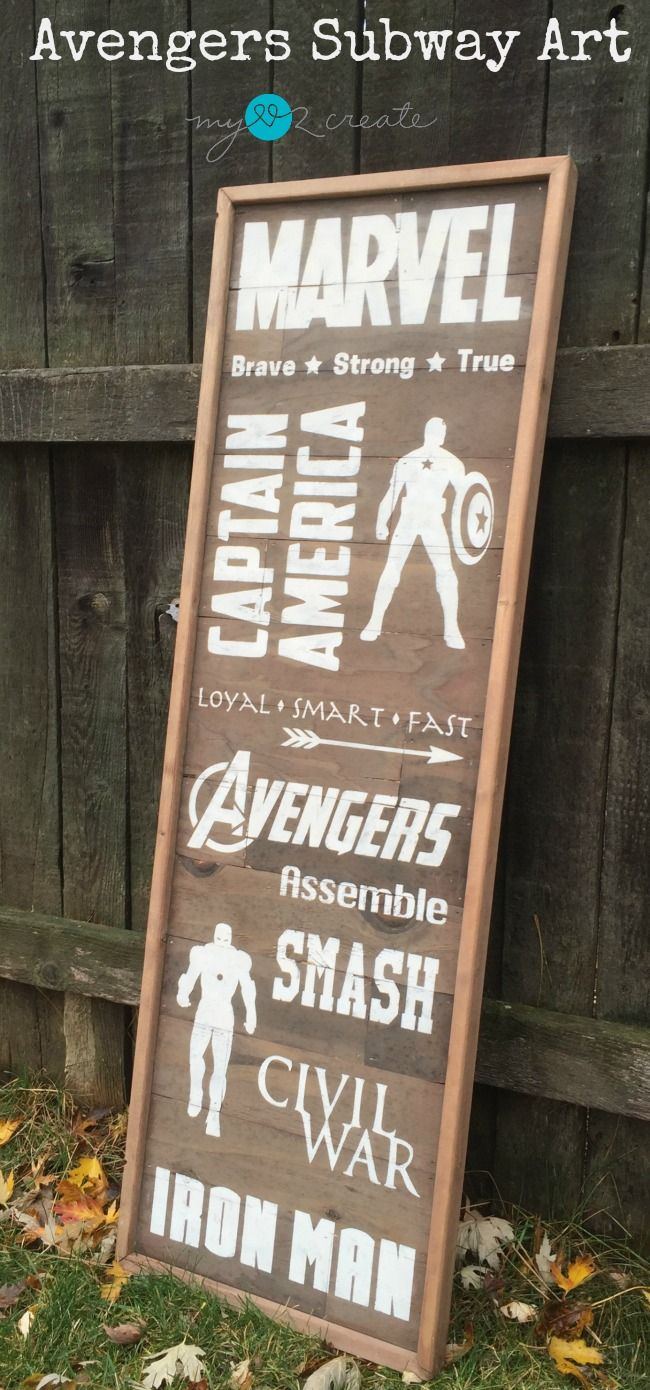 Create a planked wood Avengers Subway Art Sign with this easy to follow DIY tutorial!