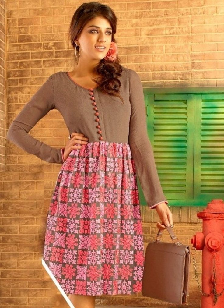 Brown Georgette Embroidered Party Wear Kurti