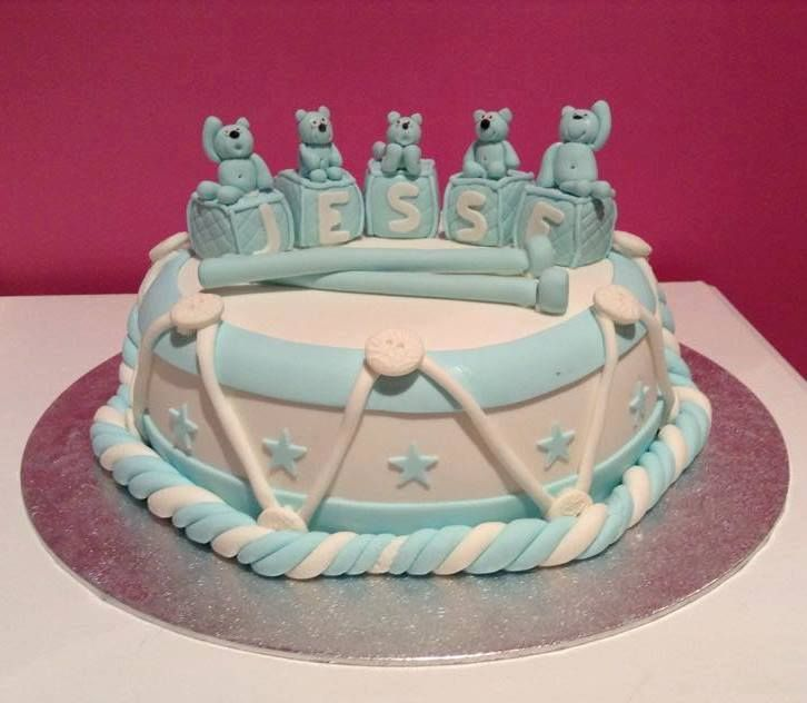 Baptism / Christening ~ Little Drum and Little Blocks Themed Cake decorated by Coast Cakes Ltd