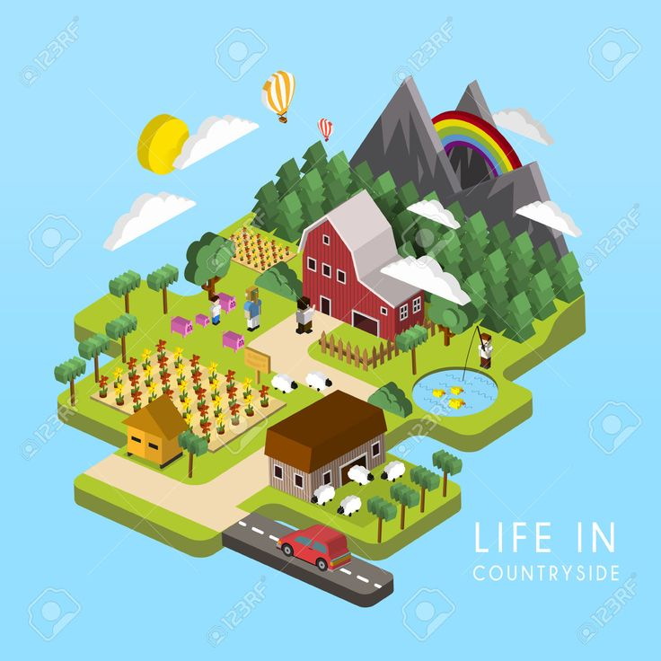 36624651-flat-3d-isometric-life-in-countryside-illustration-over-blue-background-Stock-Vector.jpg (1300×1300)