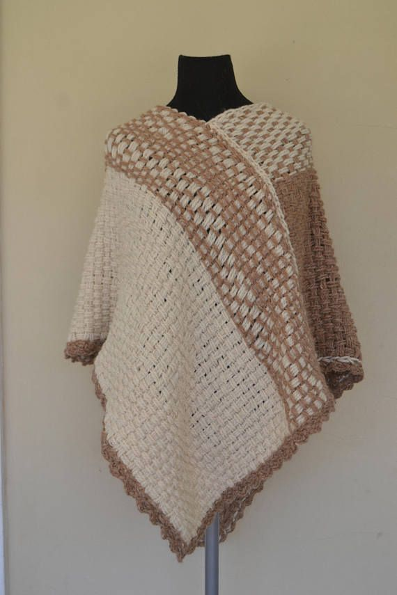 HandWoven Poncho/Wrapping shawl/women/ wool poncho/hand knit