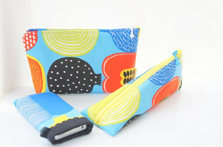 handmade pouch, pencase, iphonecase #handmade #pouch #pen case #iphone case #sewing #marimekko #compotti